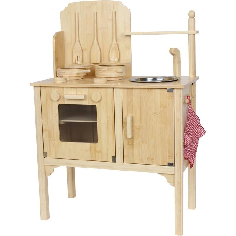 Speelgoed kwaliteits keuken met oven van bamboehout