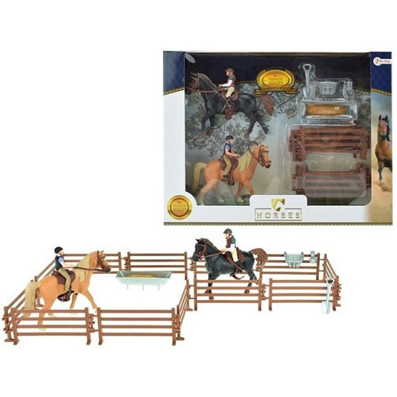 Speelgoed paarden set twee paarden met ruiters
