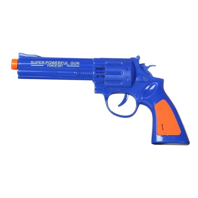 Speelgoed pistool/pistolen blauw met geluid 23 x 11 cm