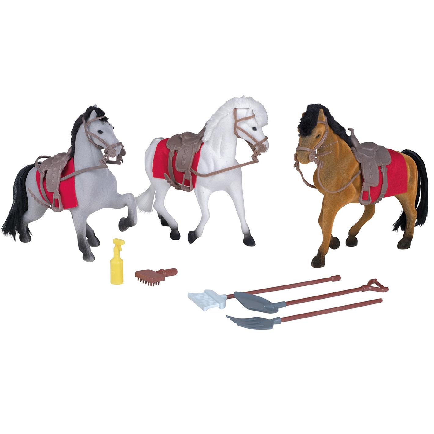 Speelgoed set drie paarden met stal en accessoires