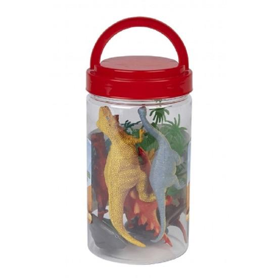 Speelset dinosaurussen kunststof in emmer speelgoed 12 stuks