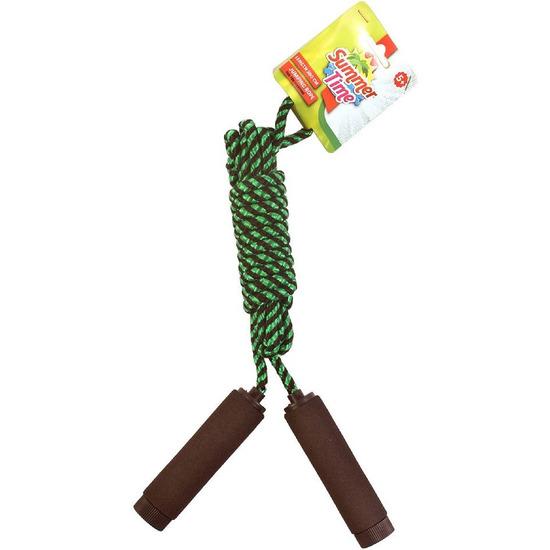Springtouw zwart/groen 390 cm met foam handvatten speelgoed