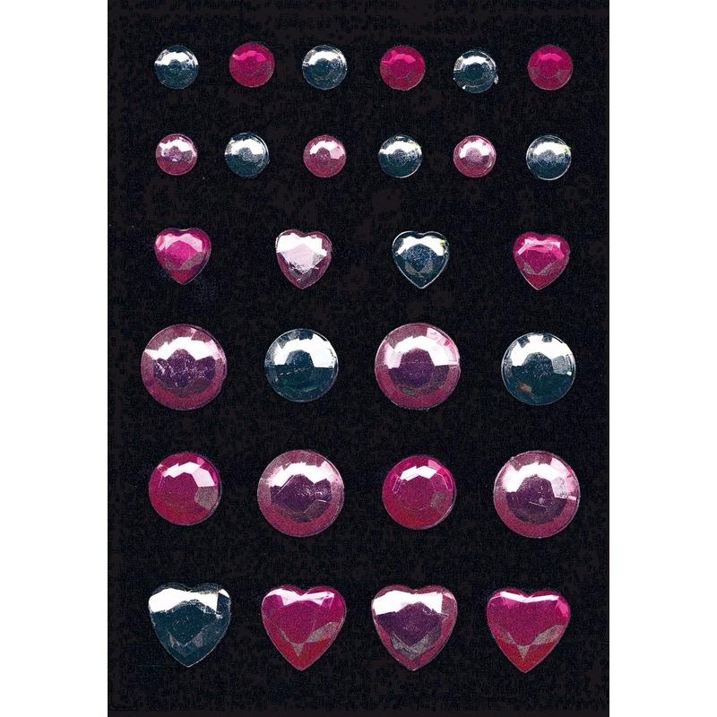 Stickers met roze en zilveren strass steentjes