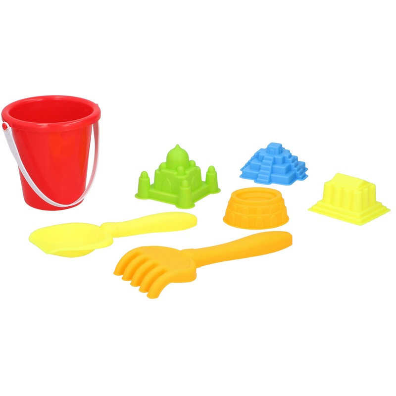 Strand/zandbak speelgoed rode emmer met vormpjes en schepjes