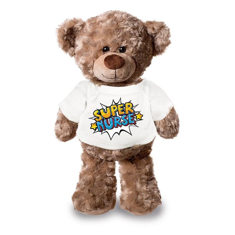 Super nurse/ zuster pluche teddybeer knuffel 24 cm wit t-shirt