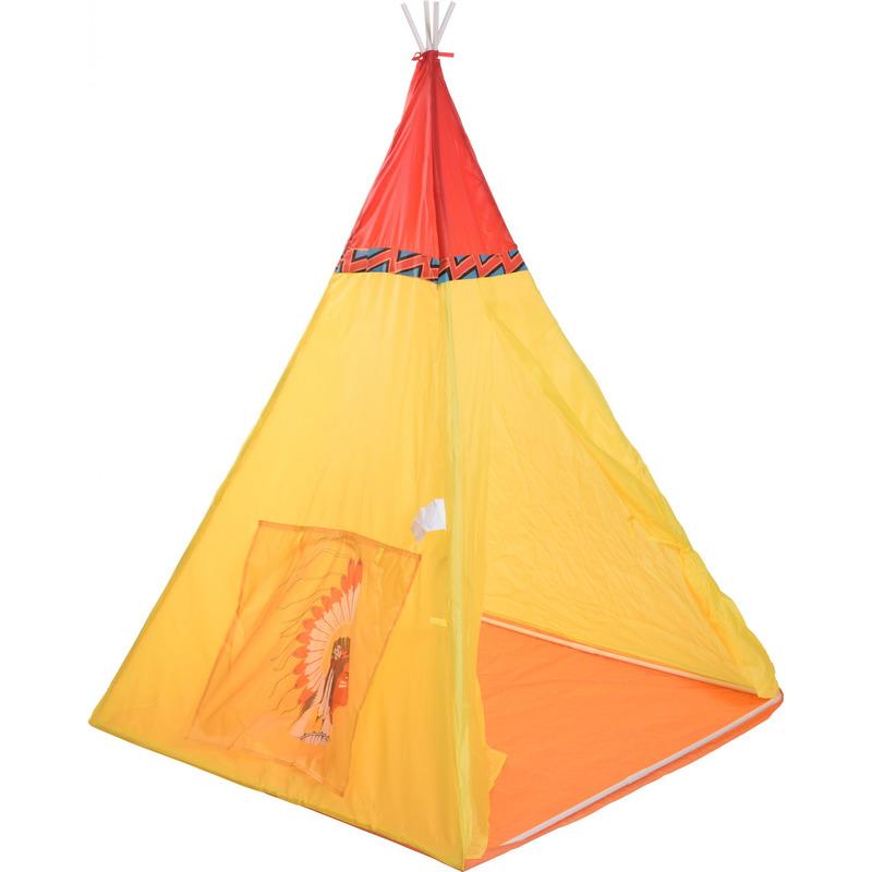 Tipi speeltent Indiaan geel/rood 135 cm