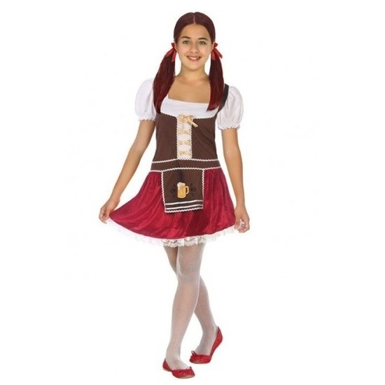 Tiroler verkleed jurk bruin/rood voor meisjes