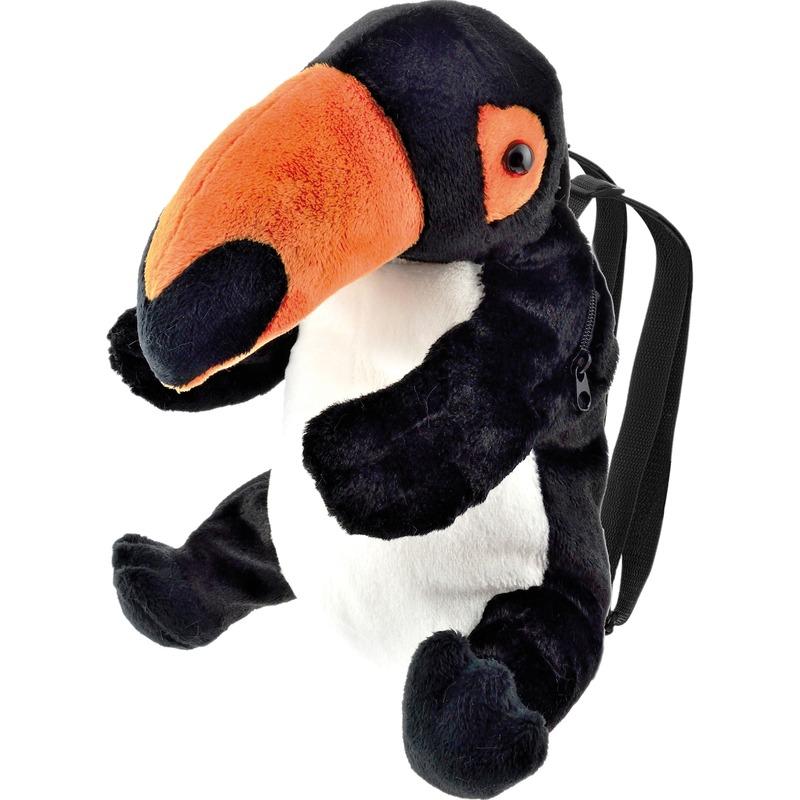 Toekan vogels speelgoed artikelen rugtas/rugzak knuffelbeest zwart 32 cm