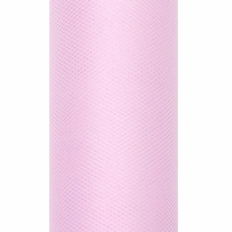 Tule stof lichtroze 15 cm breed