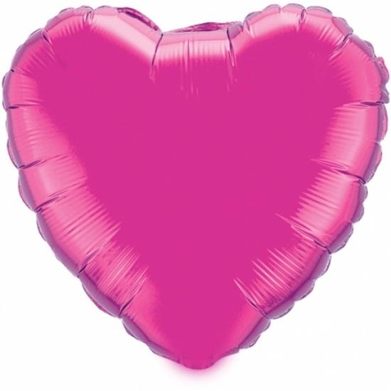 Valentijn hartjes ballon fuchsia 52 cm