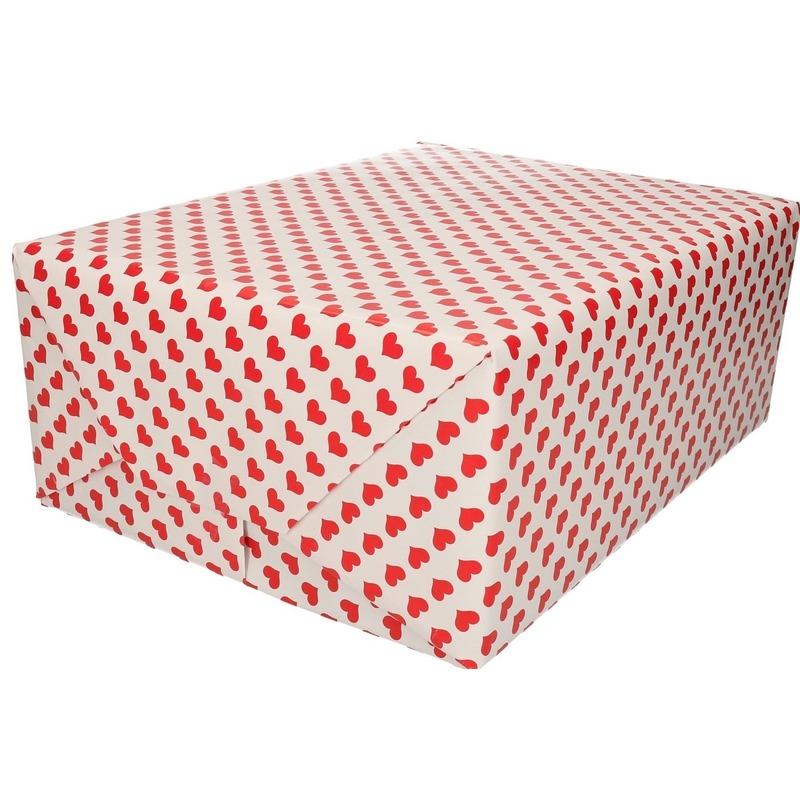 Verjaardag inpakpapier/cadeaupapier rood hart print 200 x 70 cm