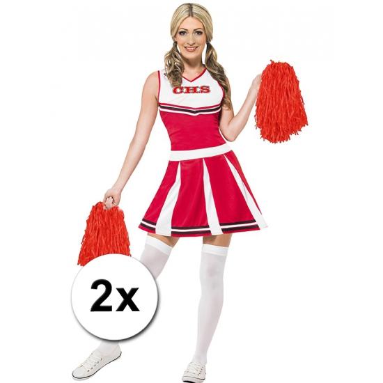 Verkleed cheerballs rood 2x