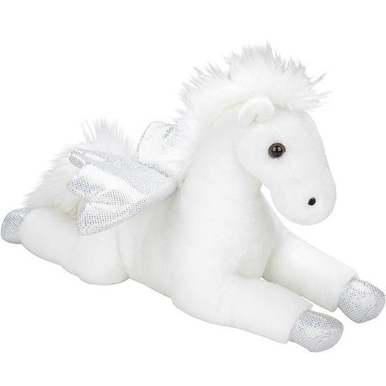 Vliegende paarden speelgoed artikelen pegasus knuffelbeest wit 35 cm