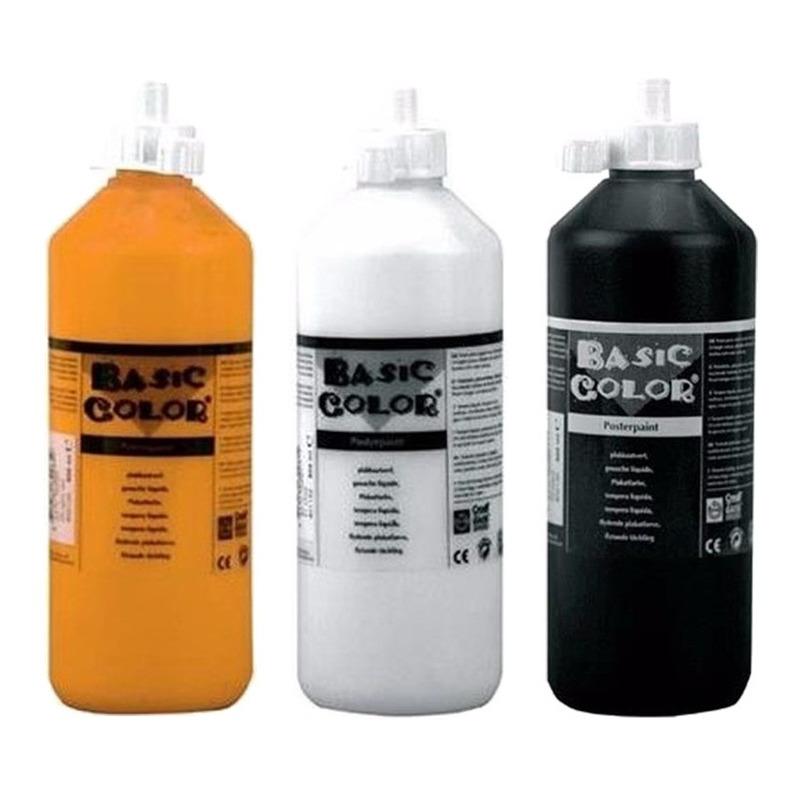 Voordeel set van 3x kleuren plakkatverf waterbasis van 3x 500 ml