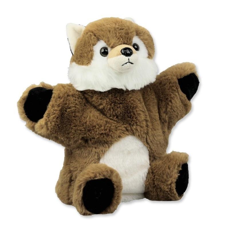 Vossen speelgoed artikelen vos handpop knuffelbeest bruin 22 cm