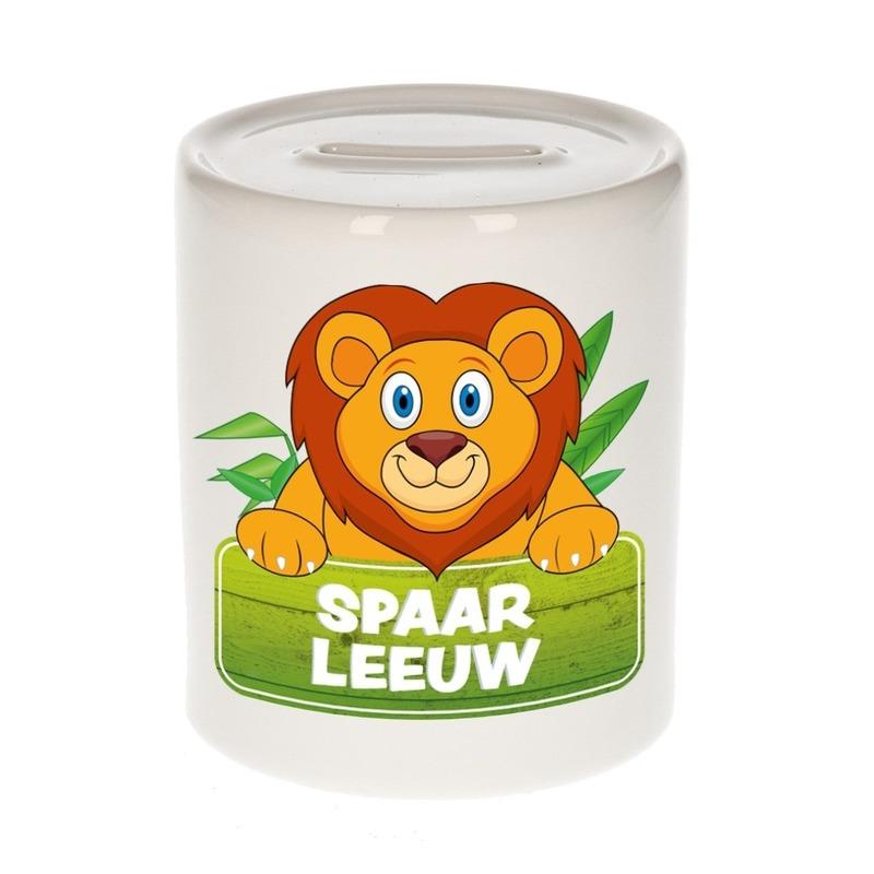 Vrolijke leeuwen spaarpotten 9 cm