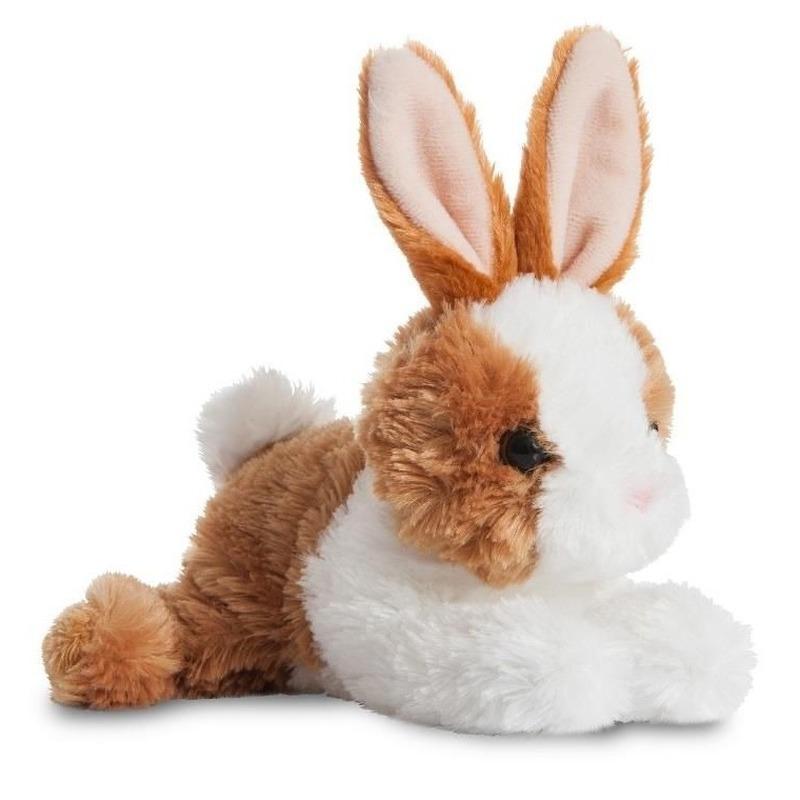 Wit/bruine konijnen speelgoed artikelen konijn knuffelbeest 20 cm