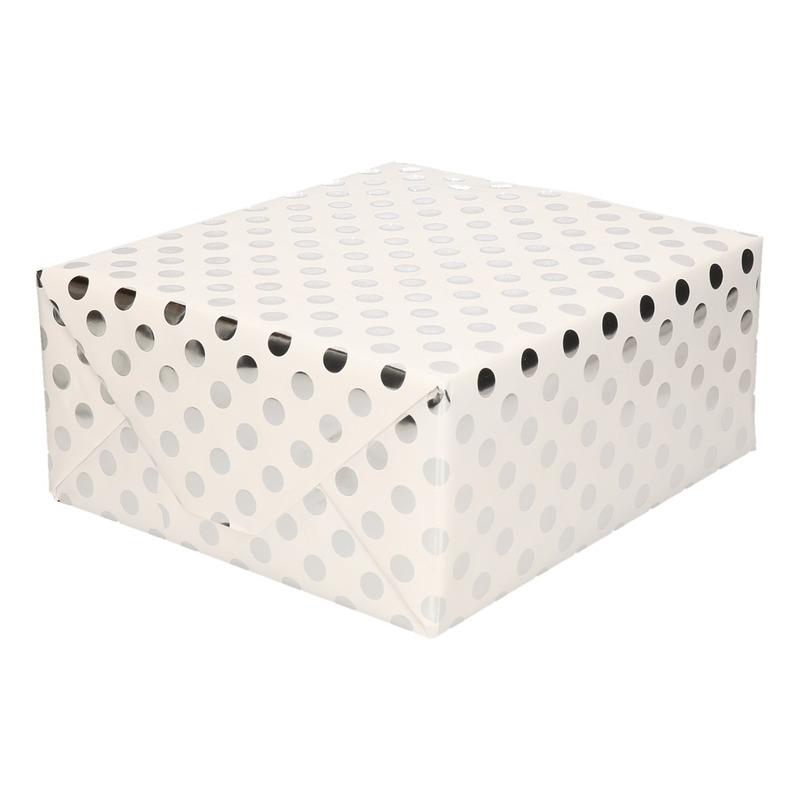 Wit folie inpakpapier/cadeaupapier zilveren stip 200 x 70 cm