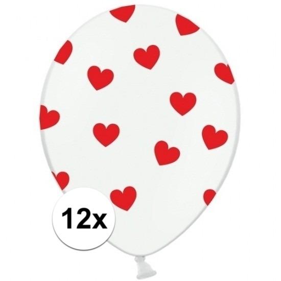Witte ballonnen met hartjes rood 12 stuks