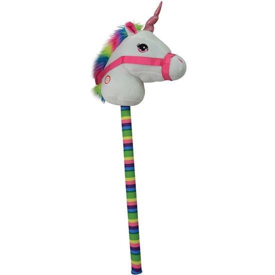 Witte eenhoorn stokpaardje met geluid 68 cm voor kinderen