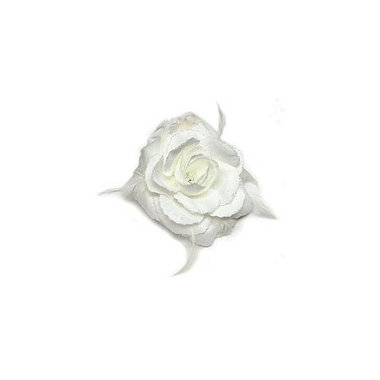 Witte glitter roos corsage accessoire 10 cm