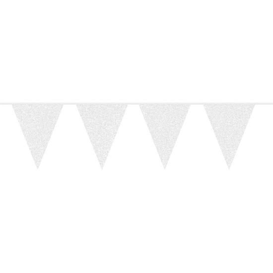 Witte glitter vlaggenlijnen van 10 meter