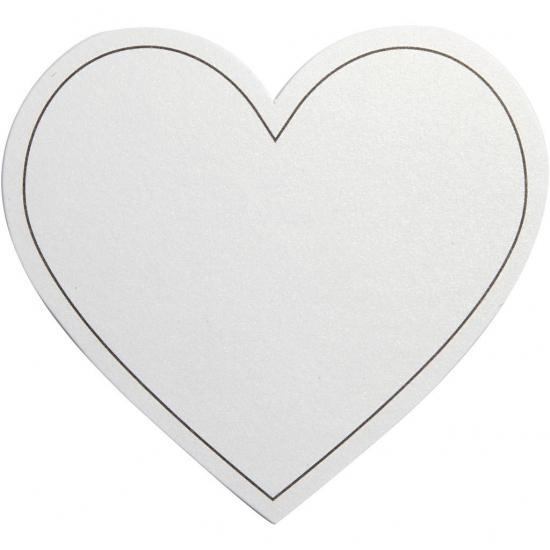 Witte hartjes uitnodigingen blanco 10x stuks