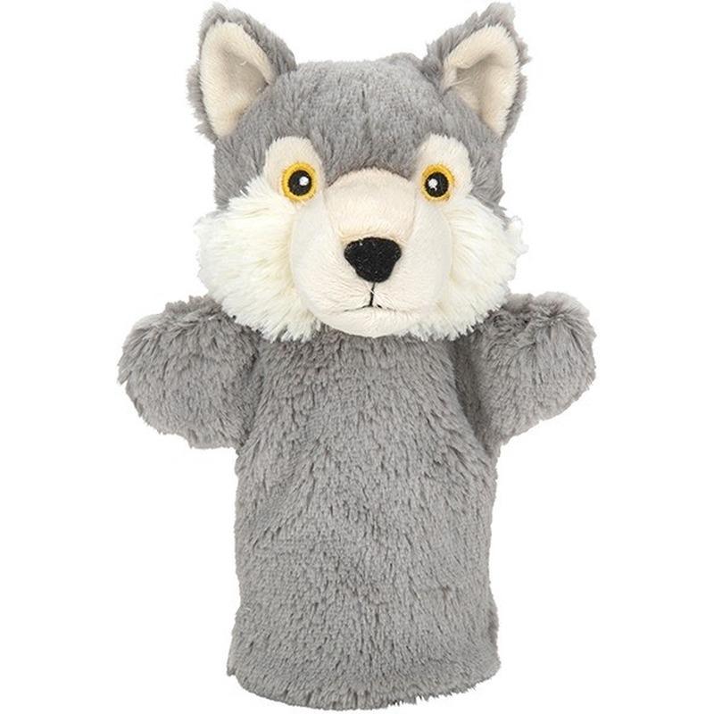 Wolven speelgoed artikelen wolf handpop knuffelbeest grijs 24 cm