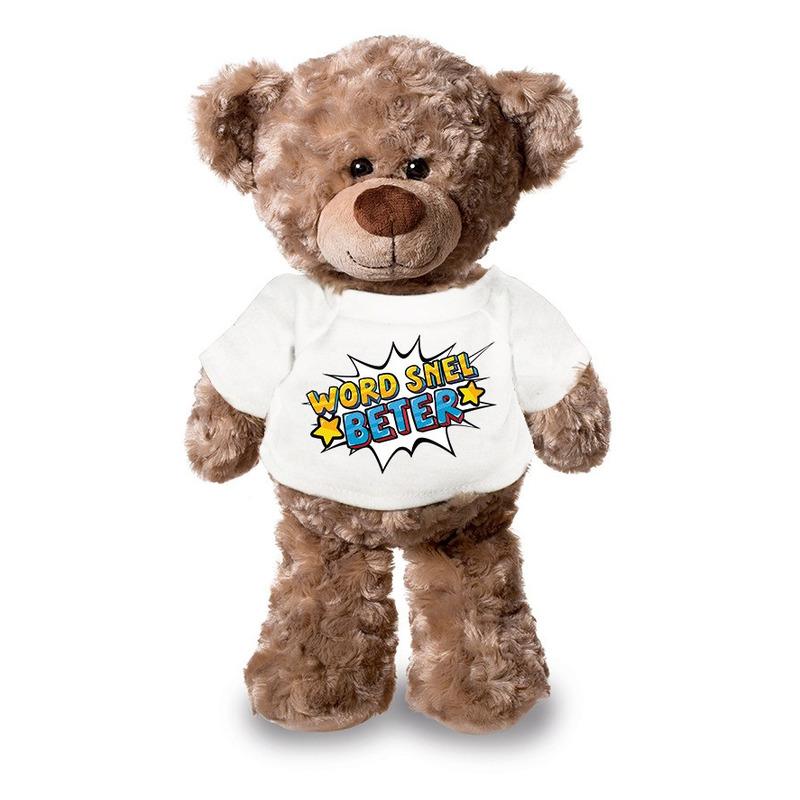 Word snel beter pluche teddybeer knuffel 24 cm met wit t-shirt