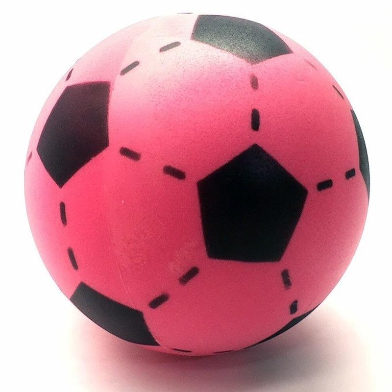 Zachte voetbal roze gekleurd 20 cm
