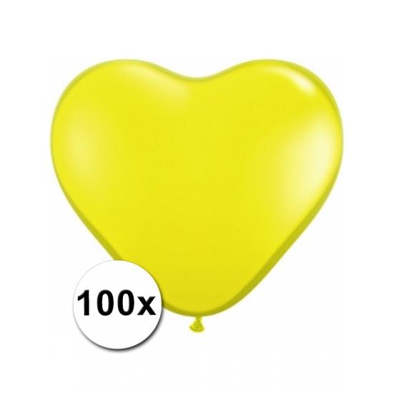 Zak met 100 gele hart ballonnen 15 cm