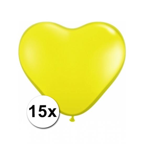 Zak met 15 gele hart ballonnen 15 cm
