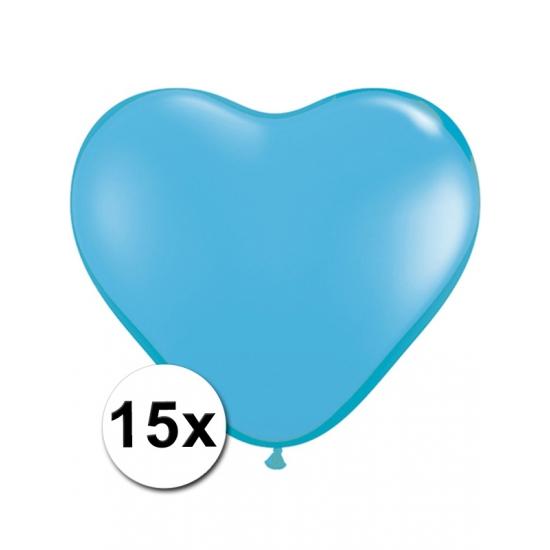 Zak met 15 lichtblauwe hart ballonnen 15 cm