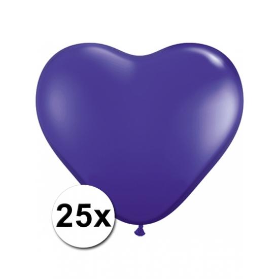 Zak met 25 paarse hart ballonnen 15 cm