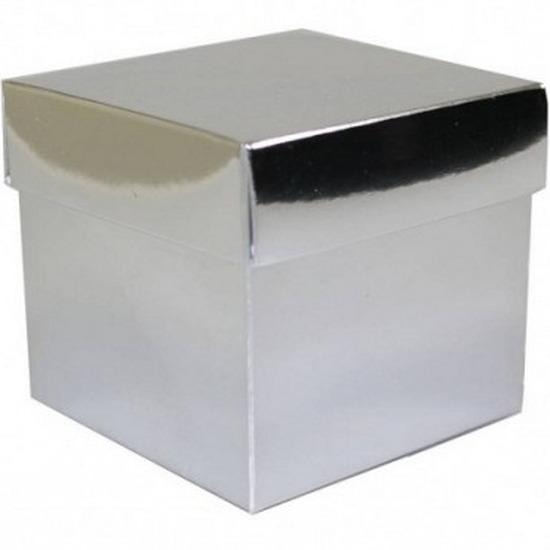 Zilver cadeaudoosje 10 cm vierkant