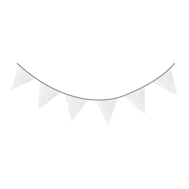 Zilveren glitter vlaggenlijn 6 meter
