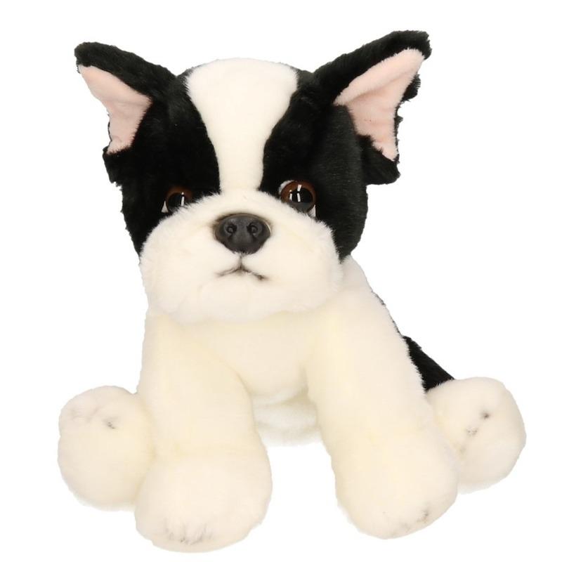 Zittende pluche knuffel Franse bulldog 24 cm