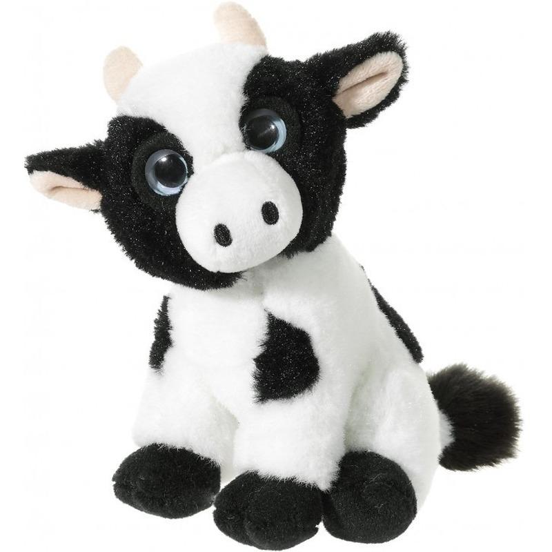 Zwart met witte pluche koe/koeien knuffels 14 cm