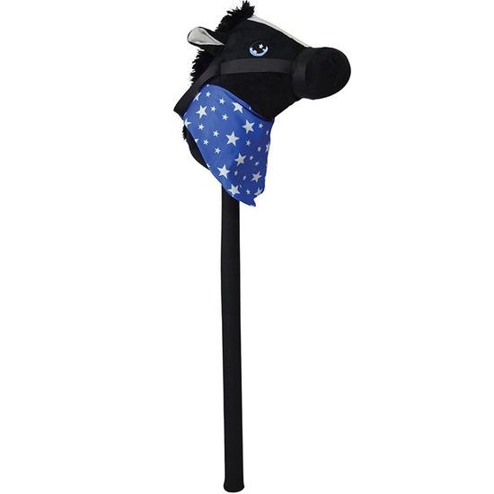 Zwart stokpaardje met geluid 68 cm voor kinderen
