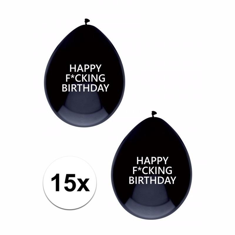 Zwarte Fucking Birthday ballonnen brutaal 15x