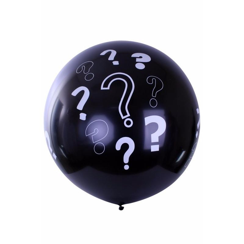 Zwarte mega ballon met vraagtekens 90 cm