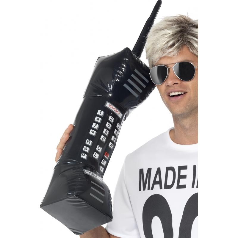 Zwarte opblaas telefoon 75 cm
